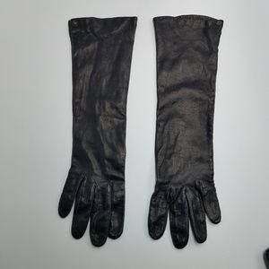 Vintage Accessories - Vtg Black Leather Silk Lined Classic Length Gloves